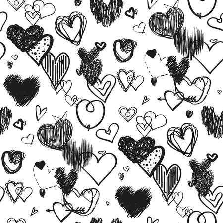 Seamless background with hearts. Abstract geometric wallpaper of the surface. Hand drawn love signs on white. Collection. Line art. Print for banners, posters, t-shirts and textiles