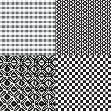 Set of seamless backgrounds. Checkered pattern. Abstract geometric wallpaper of the surface. Print for polygraphy, posters, t-shirts and textiles. Doodle for design Vetores