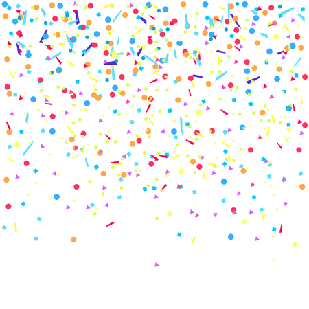 Explosion. Multicolored pattern with random falling colored confetti on white background. Texture with glitters for design. Greeting cards. Print for polygraphy, posters, t-shirts and textiles