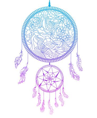Atrapasueños en blanco. Zentangle. Símbolo místico abstracto. Símbolo de los indios americanos. Arte zen. Diseño de relajación espiritual para adultos. Creación de arte lineal