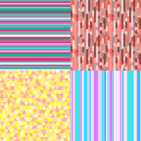 Set of seamless colored patterns. Pretty bright colors. Abstract geometric wallpaper of the surface. Striped backgrounds. Print for polygraphy, posters, t-shirts and textiles. Doodle for work