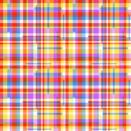 Patrón de mosaico sin fisuras. Papel pintado geométrico a cuadros de la superficie. Fondo multicolor a rayas. Bonita textura. Impresión de pancartas, folletos, camisetas y textiles. Doodle para el diseño. Creación de arte