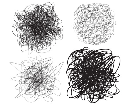 Set of chaos patterns. Scribble sketch. Background with array of lines. Tangle on white. Intricate chaotic texture. Art creation. Black and white illustration. Print for polygraphy, posters and shirts