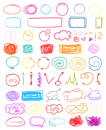 Set of colored infographic elements on isolated background. Big collection of different signs on white. Hand drawn elements. Shapes for inscriptions. Line art. Abstract circles, arrows and frames