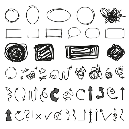 Infographic elements on isolated background. Big set on white. Hand drawn tangled symbols. Doodles for design and business. Grunge signs. Line art. Abstract arrows, circles, ovals and rectangle frames  イラスト・ベクター素材