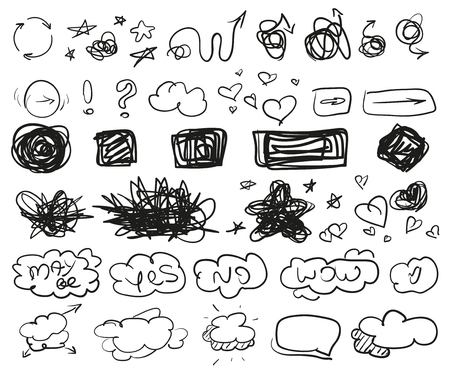 Grunge signs. Big set of different shapes. Hand drawn simple symbols for design. Line art. Infographic elements on white. Abstract circles, arrows, clouds and rectangle. Sketchy doodles for work