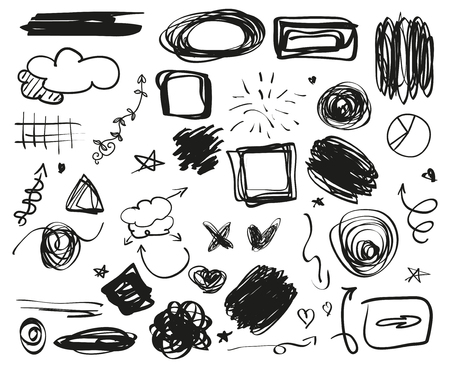 Hand drawn grunge signs. Infographic elements on isolated background. Big set on white. Simple tangled symbols. Doodles for design. Line art. Sketchy abstract circles, ovals and rectangle frames