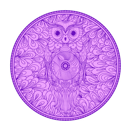 Zendala with owl on white. Zentangle. Hand drawn circle mandala with abstract patterns on isolated background. Design for spiritual relaxation for adults. Vintage and retro style Vectores