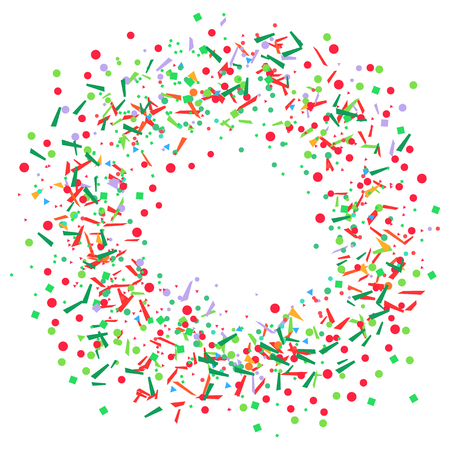 Colored circle pattern with geometric elements on white. Holiday background with confetti. Texture from glitters. Festive frame. Print for banners, posters, t-shirts and textiles. Greeting cards