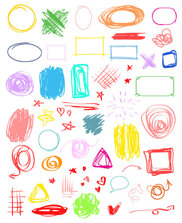 Multicolored infographic elements isolated on white. Set of different indicator signs. Tangled backdrops. Hand drawn simple objects. Line art. Abstract circles, arrows and rectangles. Symbols for work Ilustração