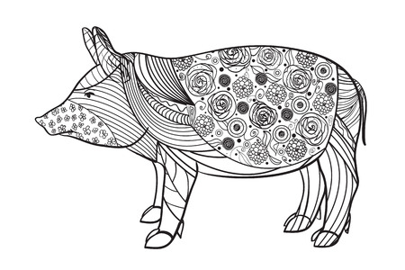 Pig on white. Zen art. Zentangle. Hand drawn animal with intricate patterns on isolated background. Design for spiritual relaxation for adults. Black and white illustration for coloring. Print