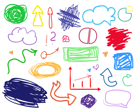 Hand drawn infographic elements on white. Different colored arrows. Line art. Tangled shapes. Set of simple signs. Abstract circles, ovals and rectangle frames. Sketchy doodles for business and work
