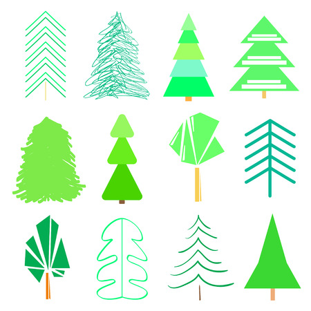 Green trees and christmas trees on white. Geometric art. Universal collection for trendy design. Abstract colorful set for icons on isolated background Archivio Fotografico - 111601616