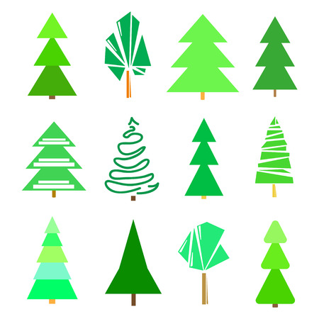 Green trees and christmas trees on white. Set for icons on isolated background. Geometric art. Universal collection for trendy design Vettoriali