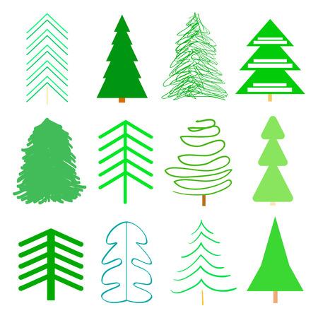 Alberi di Natale verdi su bianco. Impostare per le icone su sfondo isolato. Arte geometrica. Collezione universale per poligrafia, poster, t-shirt e tessuti