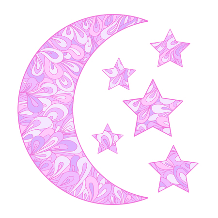 Crescent on white. Moon and stars with abstract patterns on isolation background. Design for spiritual relaxation for adults. Image for t-shirts, posters and other