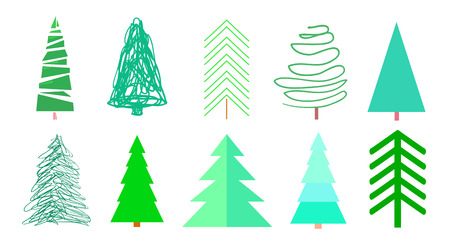 Ð¡olorful christmas trees on white. Set for design on isolated background. Geometric art. Universal colored collection. Objects for polygraphy, posters, t-shirts and textiles