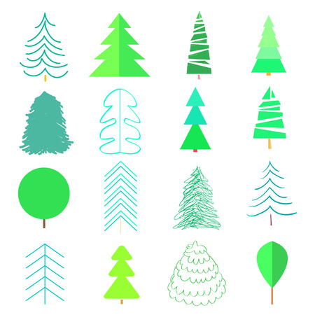 Green trees and christmas trees on white. Set for icons on isolated background. Geometric art. Universal coloful collection for trendy design. Abstract objects for flyers, posters, t-shirts and textil