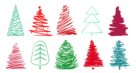 Ð¡hristmas trees on white. Set for design on isolated background. Geometric art. Universal colored collection. Elements for banners, posters, t-shirts and textiles