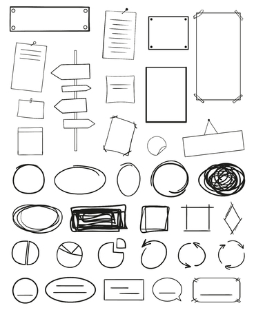 Infographic tables on isolated background. Collection of desks on white. Arrows and diagrams for design. Hand drawn simple signs Ilustração