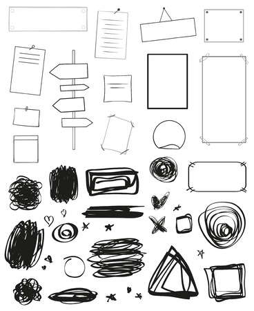 Infographic elements. Signs on isolated background. Collection of desks on white. Symbols for design. Hand drawn simple shapes. Black and white illustration