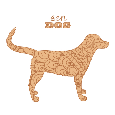 Dog on white. Hand drawn animal with abstract patterns on isolation background. Design for spiritual relaxation for adults. Doodle for banners, posters, t-shirts and textiles Ilustrace
