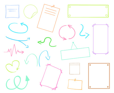 Infographic tables on isolated background. Collection of colorful desks on white. Arrows for design. Hand drawn simple signs