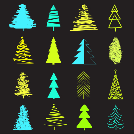 Abstract christmas trees on black. Set for trendy design on isolated background. Geometric art. Universal collection for banners, posters, t-shirts and textiles