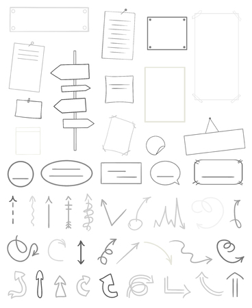 Infographic tables on isolated background. Collection of desks on white. Elements for design. Hand drawn simple signs. Black and white illustration