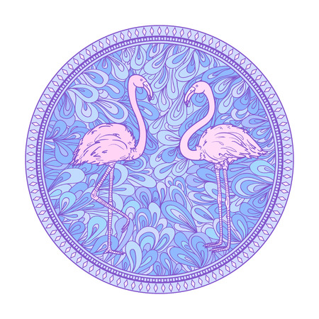 Flamingos. Circle zendala with birds on white. Hand drawn foliage mandala on isolated background. Design for spiritual relaxation for adults. Doodle for flyers, shirts and textiles.