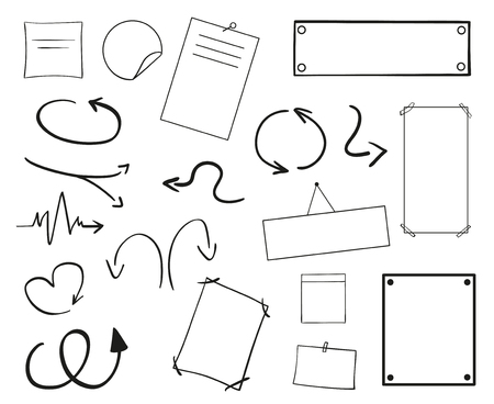 Infographic tables on isolated background. Collection of desks on white. Arrows for design. Hand drawn simple signs