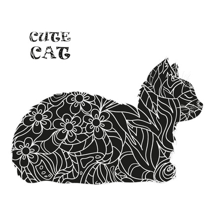 Cat on white. Zentangle. Hand drawn animal with abstract patterns on isolation background. Design for spiritual relaxation for adults. Black and white illustration