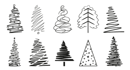 Christmas trees on isolated white. Geometric art. Set for icons on isolation background. Objects for polygraphy, posters, t-shirts and textiles. Black and white illustration
