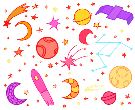 Cosmos elements on white background. Colorful cosmic doodles for design. Hand drawn simple space symbols. Line art. Set of different astronomical signs. Art creation Illustration