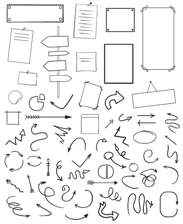 Infographic tables on isolated background. Collection of desks on white. Arrows for design. Hand drawn simple signs. Image for flyers, posters, banners and other