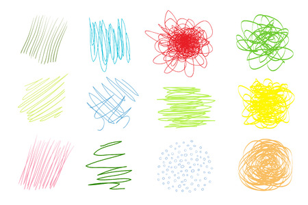Backgrounds with array of lines. Intricate chaotic textures on white. Wavy backdrops. Hand drawn tangled patterns. Colorful illustration. Elements for posters and flyers Reklamní fotografie - 112934814