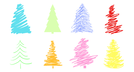 Christmas trees on white. Set for icons on isolated background. Geometric art. Objects for polygraphy, posters, t-shirts and textiles. Colored illustration