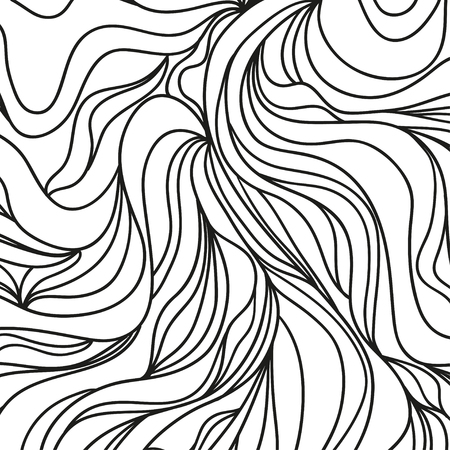 Wavy background. Hand drawn waves. Stripe abstract texture with many lines. Waved pattern. Black and white illustration for banners, flyers or posters