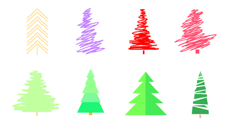 Colorful christmas trees on white. Set for design on isolated background. Geometric art. Objects for polygraphy, posters, t-shirts and textiles. Colored illustration Vettoriali