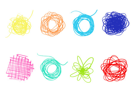 Hand drawn lines on isolated white background. Chaotic textures with hatching. Wavy tangled backdrops. Colorful illustration. Elements for posters and flyers Vettoriali
