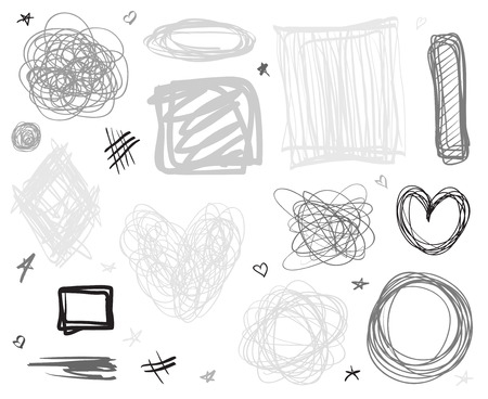 Backgrounds with array of lines. Intricate chaotic textures. Wavy backdrops. Hand drawn tangled patterns. Black and white illustration. Elements for design