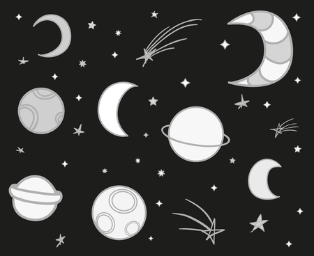 Cosmos elements on isolation background. Collection. Doodles for design on black. Hand drawn simple symbols. Line art. Set of different signs. Abstract illustration for simple design. Art creation