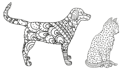 Dog and cat on white. Zentangle. Hand drawn animals with abstract patterns on isolation background. Design for spiritual relaxation for adults. Black and white illustration for coloring. Zen art  イラスト・ベクター素材