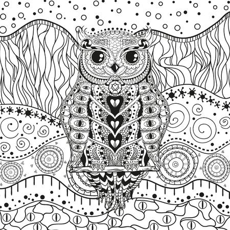Mandala mit Eule auf isoliertem Weiß. Zentangle. Handgezeichnete abstrakte Muster auf Isolationshintergrund. Design für spirituelle Entspannung für Erwachsene. Schwarz-Weiß-Illustration zum Ausmalen Vektorgrafik