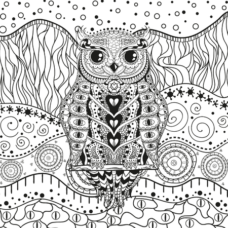Mandala with owl on isolated white. Zentangle. Hand drawn abstract patterns on isolation background. Design for spiritual relaxation for adults. Black and white illustration for coloring Vetores