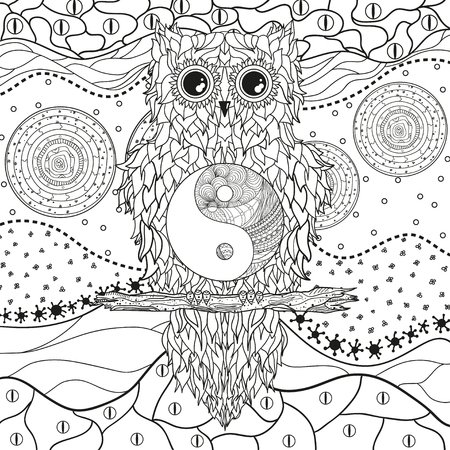 Mandala with owl on isolated white. Zentangle. Hand drawn abstract patterns on isolation background. Design for spiritual relaxation for adults. Black and white illustration for coloring Иллюстрация