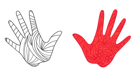 Hands on white. Abstract patterns on isolation background. Design for spiritual relaxation for adults. Zen art. Doodles for banners, posters, t-shirts and textiles