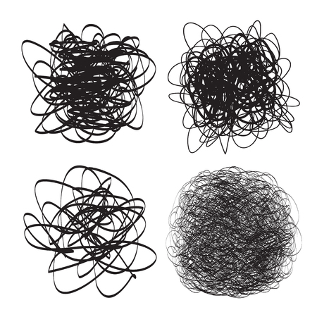 Tangled shapes on white. Chaos pattern. Scribble sketch. Background with array of lines. Intricate chaotic texture. Art creation. Black and white illustration. Doodles for posters and flyers