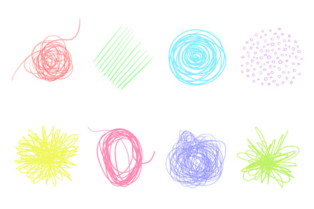 Backgrounds with array of lines. Intricate chaotic textures on white. Wavy backdrops. Hand drawn tangled patterns. Colorful illustration. Elements for posters and flyers