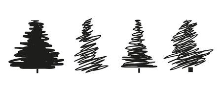 Alberi di Natale su bianco. Impostare per le icone su sfondo isolato. Arte geometrica. Oggetti per poligrafia, poster, t-shirt e tessuti. Illustrazione in bianco e nero